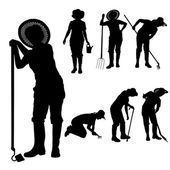 Vector silhouette of a gardener. — Vecteur