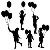 Vector silhouettes of girls with balloons. — Stock Vector