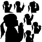 Vector silhouette of girl. — Stock Vector