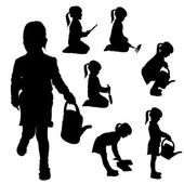 Vector silhouette of a little girl. — Stock Vector