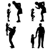 Vector silhouette of people with children. — ストックベクタ