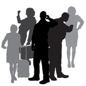 Vector silhouette of business people. — Stock Vector
