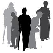 Vector silhouette of old people. — Stockvektor