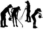 Vector silhouette of a gardener. — Cтоковый вектор