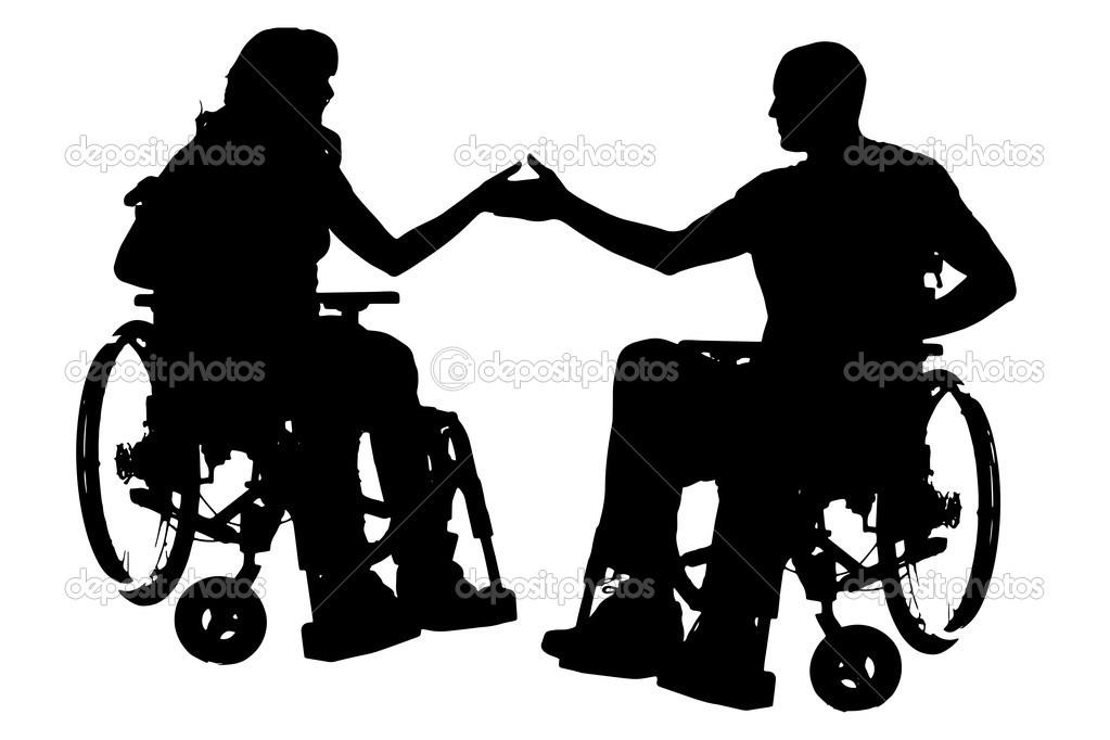 人坐在轮椅上的矢量剪影