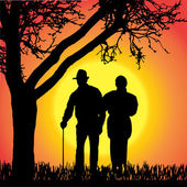 Vector silhouette of old people. — Stockvector