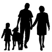 Vector silhouette of family with dog. — Vettoriale Stock