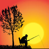 Vector silhouette of a man who fishes. — Stock Vector