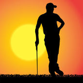 Vector silhouette of a man who plays golf. — Stockvector