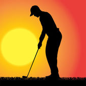 Vector silhouette of a man who plays golf. — Stock Vector