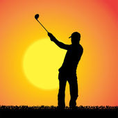 Vector silhouette of a man who plays golf. — Stock vektor