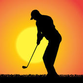 Vector silhouette of a man who plays golf. — 图库矢量图片