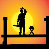 Bir adamın siluet vektör. — Stok Vektör