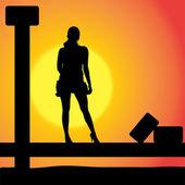 Silueta vector de una mujer. — Vector de stock