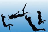 Silueta de vectores de personas que nadan. — Vector de stock