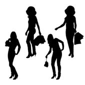 Vector silhouette of a woman. — 图库矢量图片