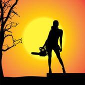 Vektor silhuett av en kvinna. — Stockvektor