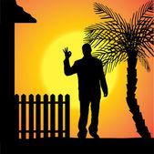 Silhouette vettoriali di un uomo. — Vettoriale Stock
