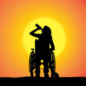 Vector silhouettes of woman in a wheelchair. — Stock Vector