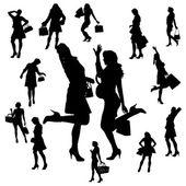 Vector silhouet van een vrouw. — Stockvector