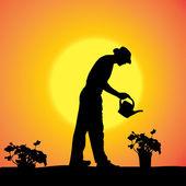 Vektor silhuett av en trädgårdsmästare. — Stockvektor