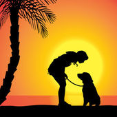Vector silhouette of a woman with a dog. — Stock Vector