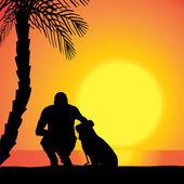 Vektor-silhouette eines mannes mit einem hund. — Stockvektor