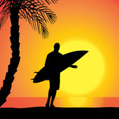 Vector silhouette of a man with a surfboard. — Stock Vector