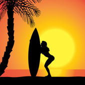 Vector silhouette of a woman with a surfboard. — Stock Vector
