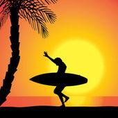 Silueta vector de una mujer con una tabla de surf. — Vector de stock