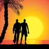 Vector silhouette of homosexuals. — Stock Vector