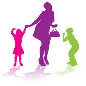 Vector silhouette of family. — Stockvektor