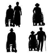 Vector silhouettes of people in a wheelchair. — 图库矢量图片