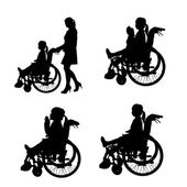 Vector silhouettes of people in a wheelchair. — Stock Vector