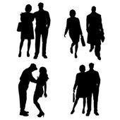 Vector silhouette of a people. — Cтоковый вектор