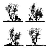 Vector silhouet van familie. — Stockvector