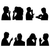 Vector silhouettes people. — Stock Vector
