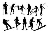 Vector silhouettes of different people. — 图库矢量图片