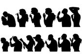 Vector silhouettes people. — Stockvektor