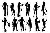 Vector silhouettes of different people. — Stock vektor