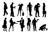 Vector silhouettes of different people. — Stock Vector