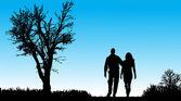 Vector silhouette of couple. — Vector de stock