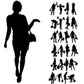 Vector silhouette of people. — ストックベクタ