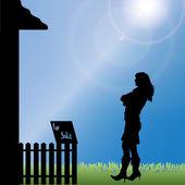 Vector silhouette of woman. — Stockvektor