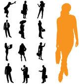 Vector silhouet van mensen uit het bedrijfsleven. — Stockvector