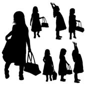 Vector silhouette of girl.  — Vector de stock