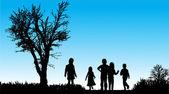 Crianças andando ao ar livre — Vetor de Stock