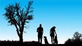 пара и собаки — Cтоковый вектор
