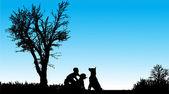дети с собакой — Cтоковый вектор