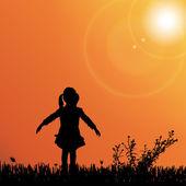 Açık havada oynayan kız — Stok Vektör